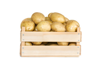 Potatoes in a wooden box