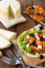 Chicken salad and tortilla