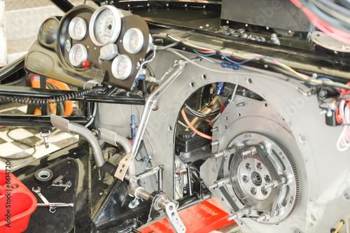 Wall mural powerful race car interior closeup
