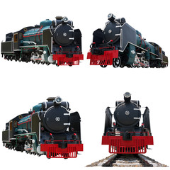Collection ancient train isolated.