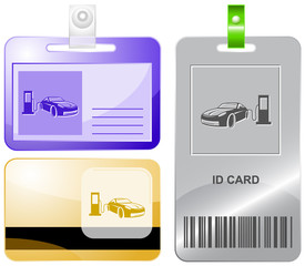 Car fueling. Vector id cards.