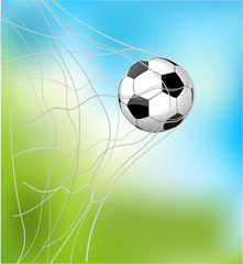 isolated soccer ball in the goal net eps10 illustration