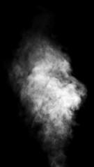 White steam on black background.
