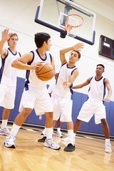 Male High School Basketball Team Playing Game