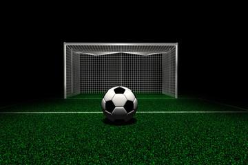 Soccer ball in front goal