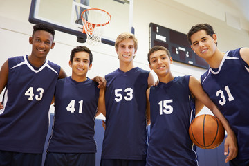 Members Of Male High School Basketball Team