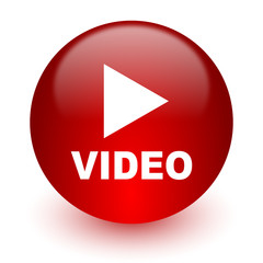 video red computer icon on white background