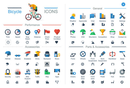 Bicycle icons set, Flat style vector elements