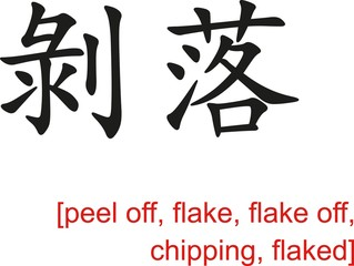 Chinese Sign for peel off, flake, flake off, chipping, flaked