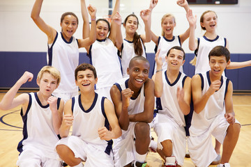 Foto op Aluminium Dance School Portrait Of High School Sports Team In Gym