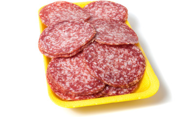 Salami background with many pieces