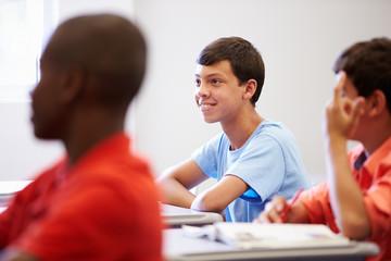 Male High School Pupil In Class