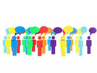 Colorful Group of People Talking in The Social Networking