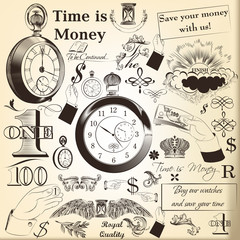 Collection of vector hand drawn vintage  elements time is money