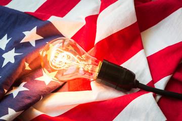 Light bulb on USA flag