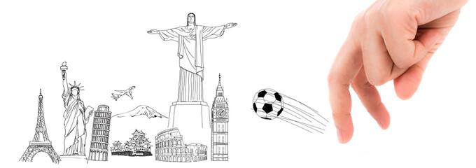 Finger and soccer ball