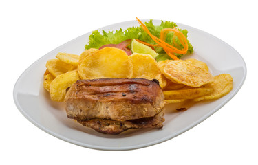 Grilled pork with potato