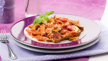 zucchini tomato pasta gratin