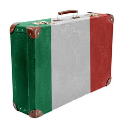 Vintage travel bag with flag of Italy, side view