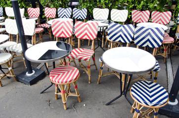 empty beautiful street cafe restaurant furniture in Paris