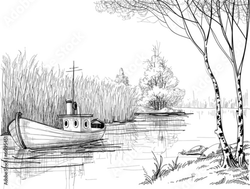 """Nature sketch, boat on river or delta"" Stock image and royalty-free vector files on Fotolia.com ..."