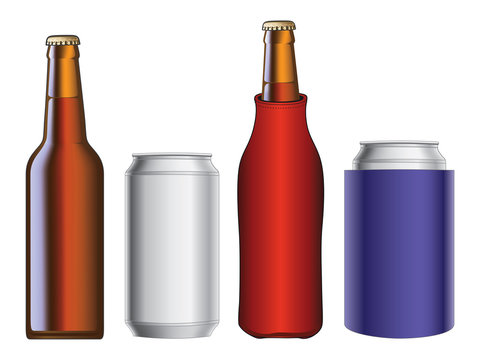 Beer Bottle and Can With and Without Koozie
