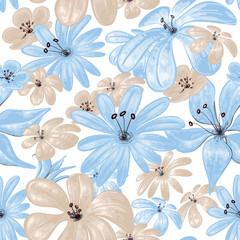 Blue flowers print seamless pattern