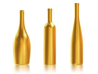 Golden Bottles on White Background