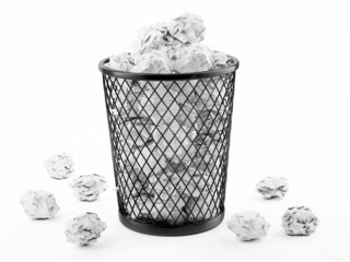 Basket Full of Waste Paper Isolated on White Background