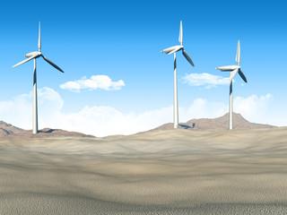Wind turbines in a desert