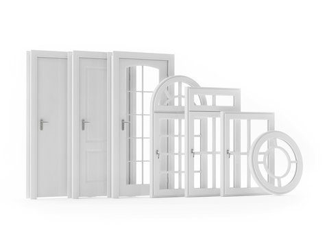 Selection Doors and Windows Isolated on White Background