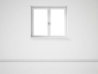 Empty White Window on White Wall