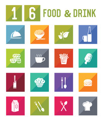 16 Food & Drink Icon set on white background