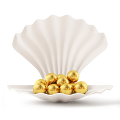 3d White Shell with Golden Pearls isolated on white background