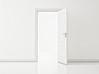 Open White Door on White Wall, Illustration