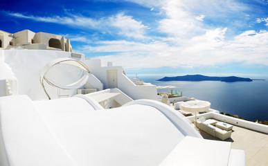 The sea view hammock at luxury hotel, Santorini island, Greece