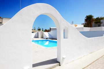 The swimming pool at luxury hotel, Santorini island, Greece