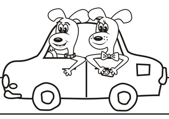dogs in the car-coloring book
