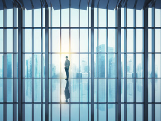 Businessman standing in large open space office