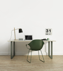 Elegant scandinavian home office interior with green chair