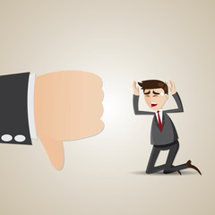 cartoon sadness businessman with thumb down