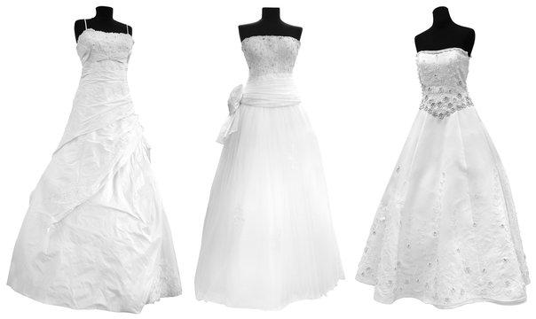 Three Modern Wedding Dress isolated on white background