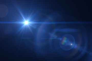 blue digital lens flare warm