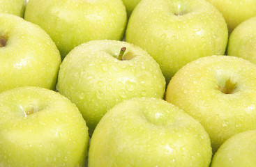 Green ripe apple background