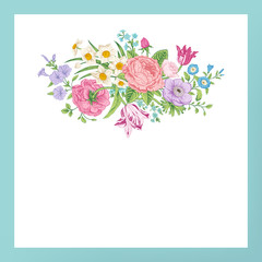 Vintage floral vector card with Victorian bouquet of flowers.