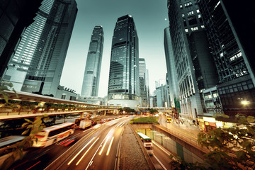 Fotomurales - traffic in Hong Kong at sunset time