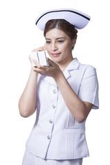 Youngwoman asian nurse make up