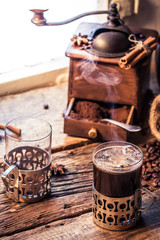 Fototapete - Coffee time in a cozy cottage