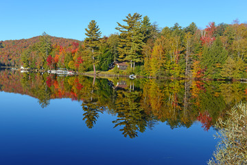 Autumn colors reflected in quiet lake
