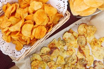 Homemade potato chips, close up